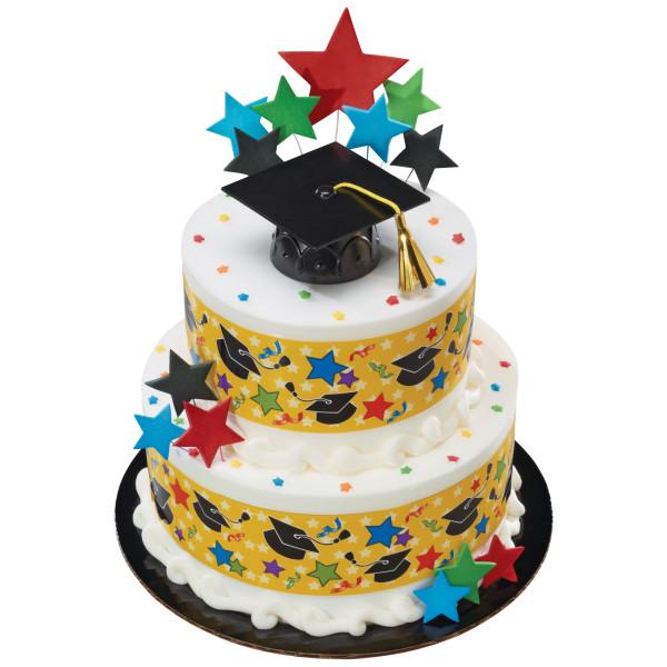 Graduation- Black Grad Cap with Tassels Cake Topper